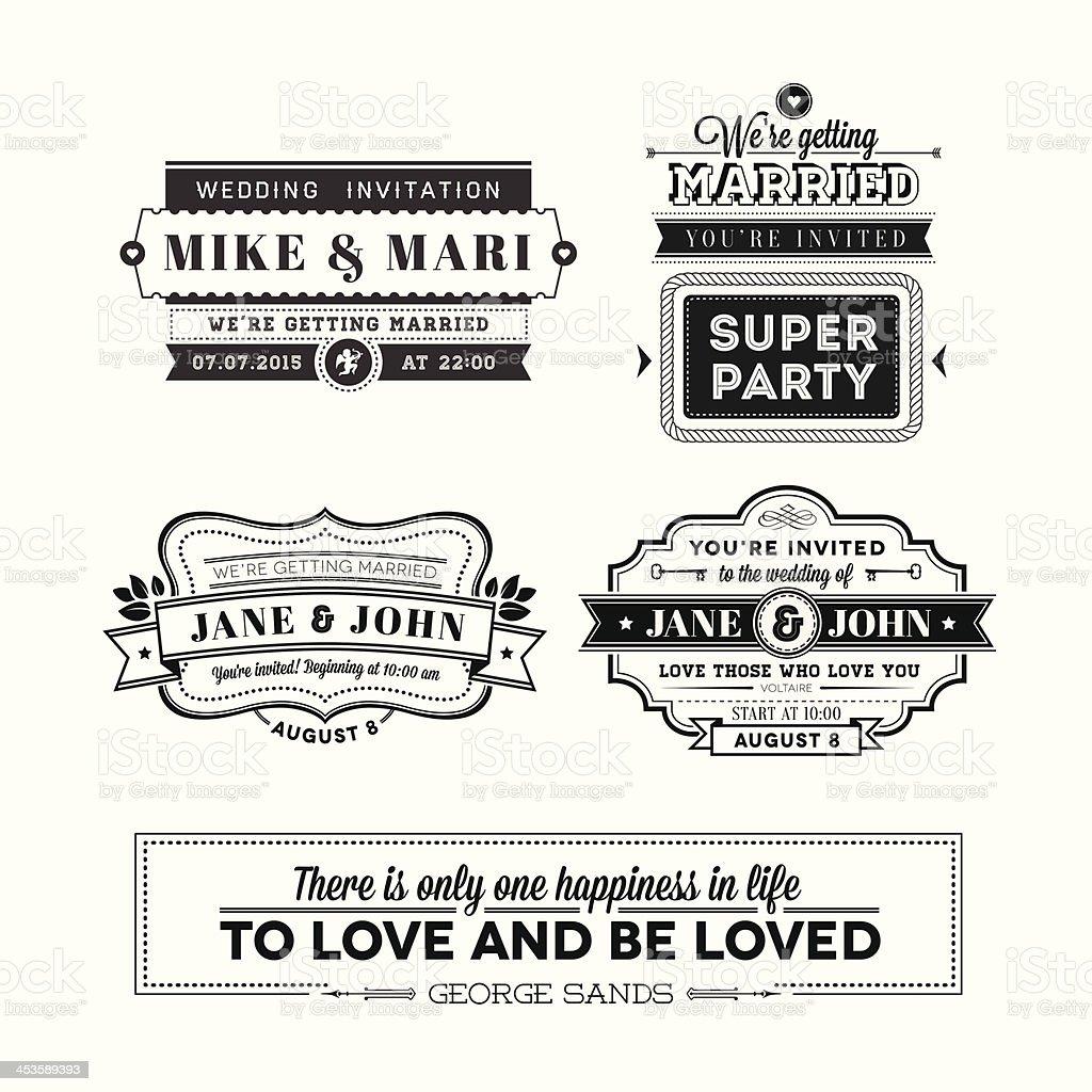 Wedding stamps set royalty-free stock vector art