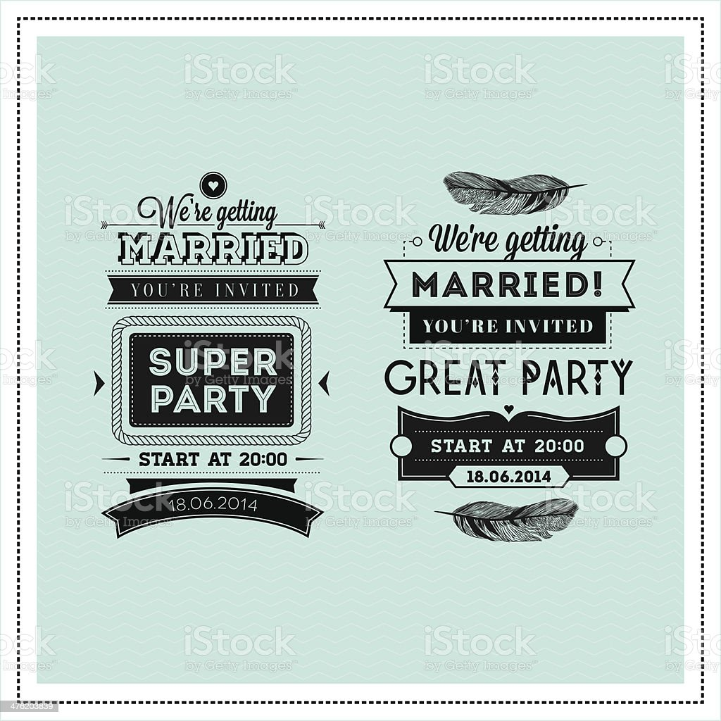 Wedding stamps typography vector art illustration