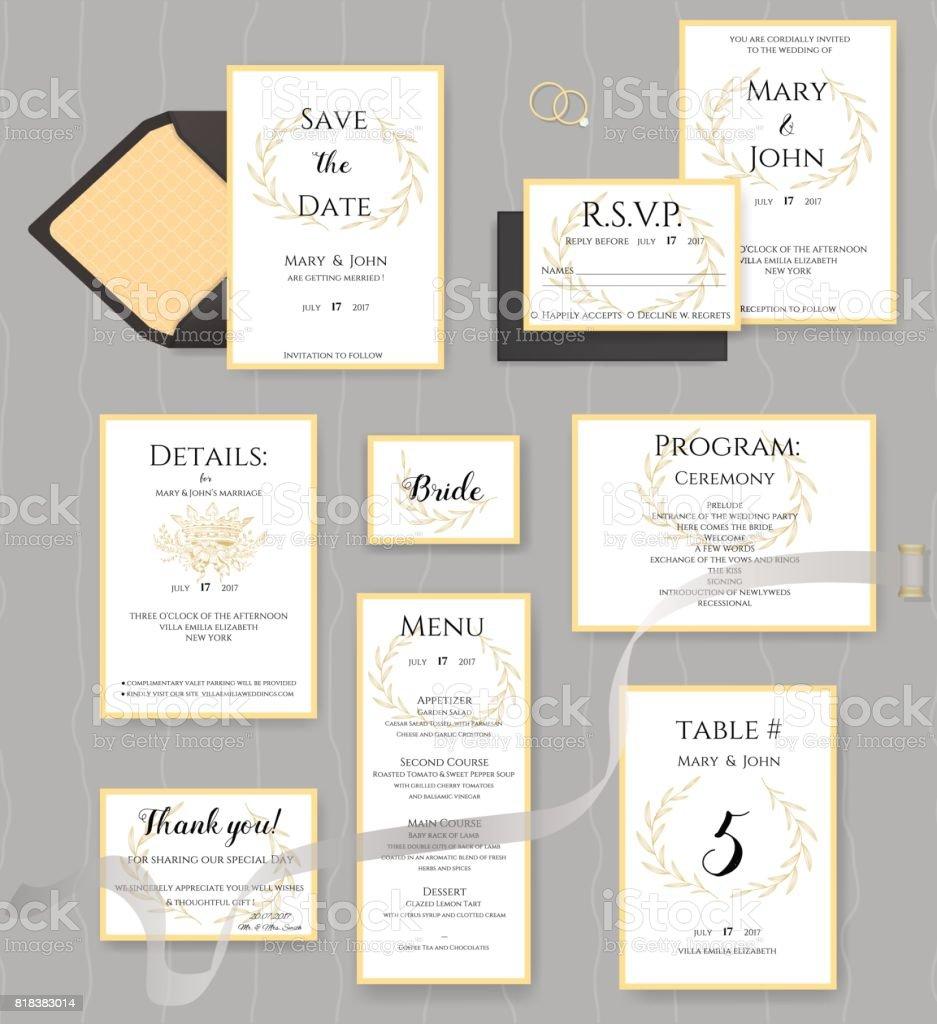 Colección de artículos de papelería de boda. Vector conjunto de tarjetas de invitación. - ilustración de arte vectorial