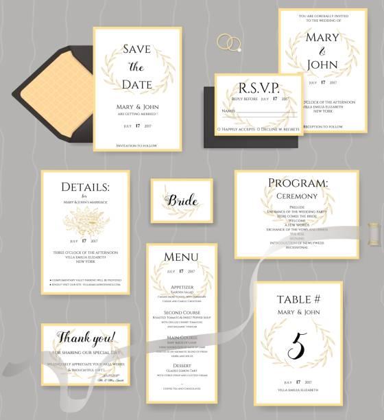 ilustraciones, imágenes clip art, dibujos animados e iconos de stock de colección de artículos de papelería de boda. vector conjunto de tarjetas de invitación. - calendario de naturaleza