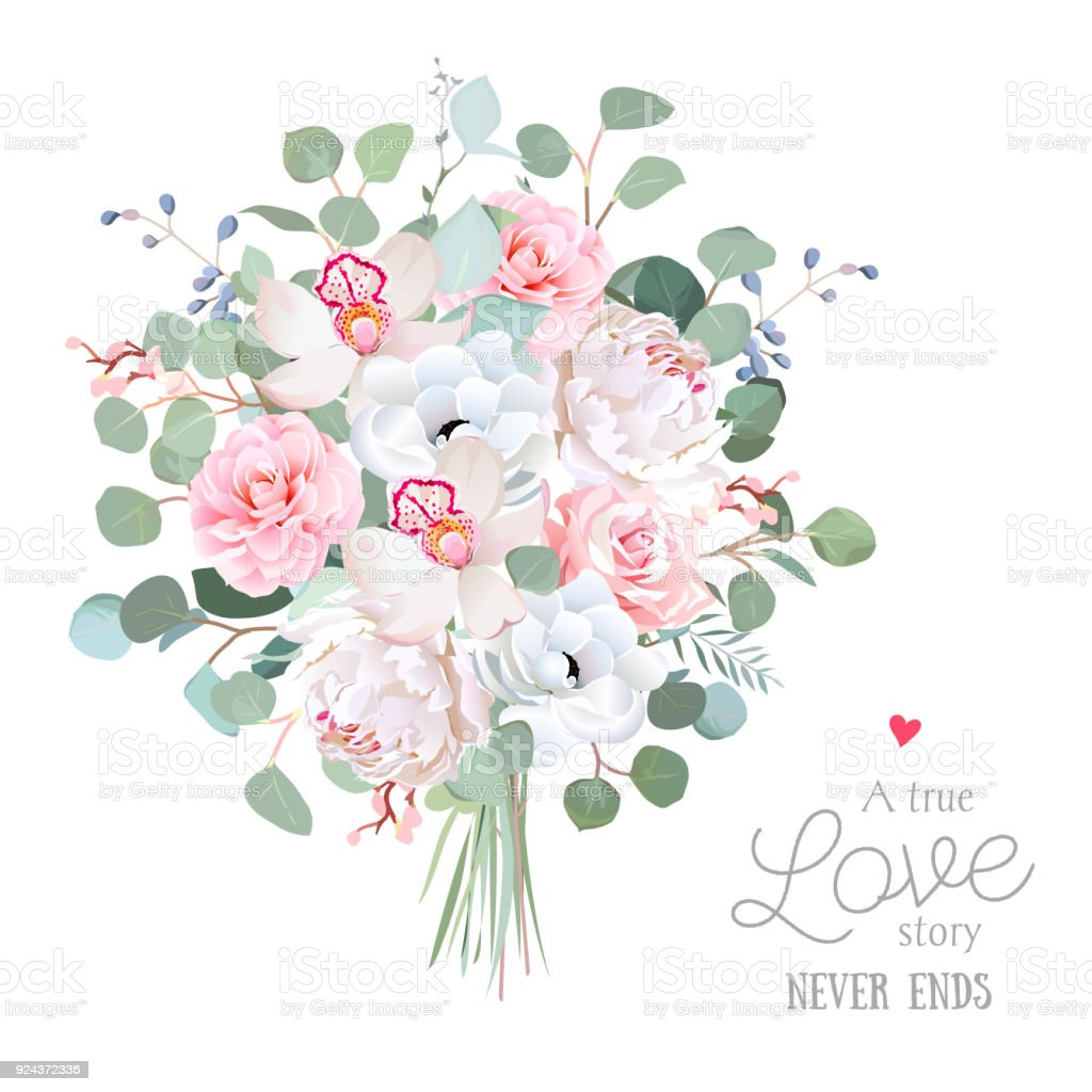 Wedding Style Flowers Bouquet Stock Vector Art More Images Of