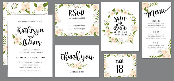 ilustraciones, imágenes clip art, dibujos animados e iconos de stock de wedding suite template with wreath flowers. - boda