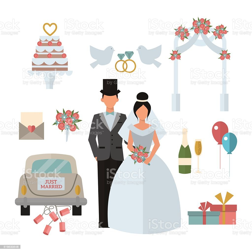 Wedding Symbols Bride Bridegroom Married Couple Marriage Car Fat Vector  Stock Illustration - Download Image Now