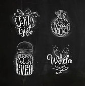 Wedding symbols lettering cards and gifts, want to marry you, best, day ever, we do drawing with chalk on chalkboard background