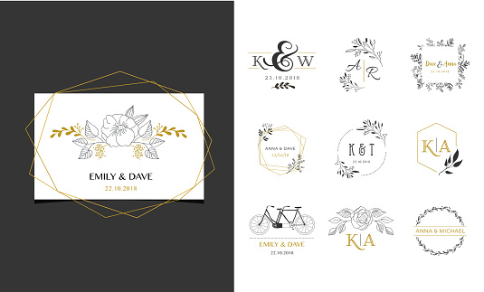 Wedding symbols, hand drawn elegant monogram collection clipart