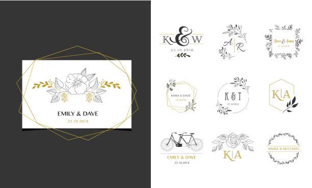 wedding symbols, hand drawn elegant monogram collection - wedding photographer stock illustrations