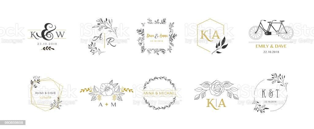 Wedding Symbols Hand Drawn Elegant Monogram Collection Stock Vector