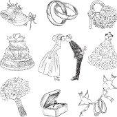 Vector sketches of a set of a wedding symbols.