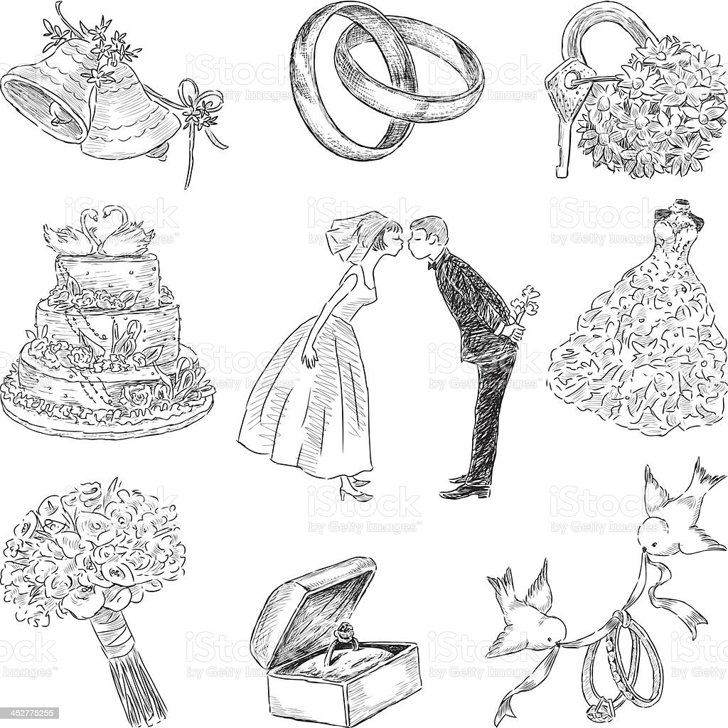 wedding symbols vector art illustration
