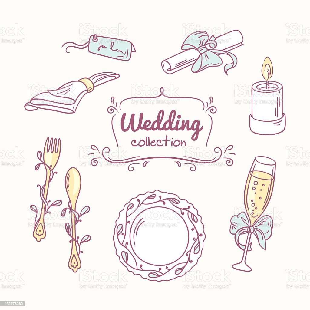 wedding table decoration in doodle hand drawn style stock vector