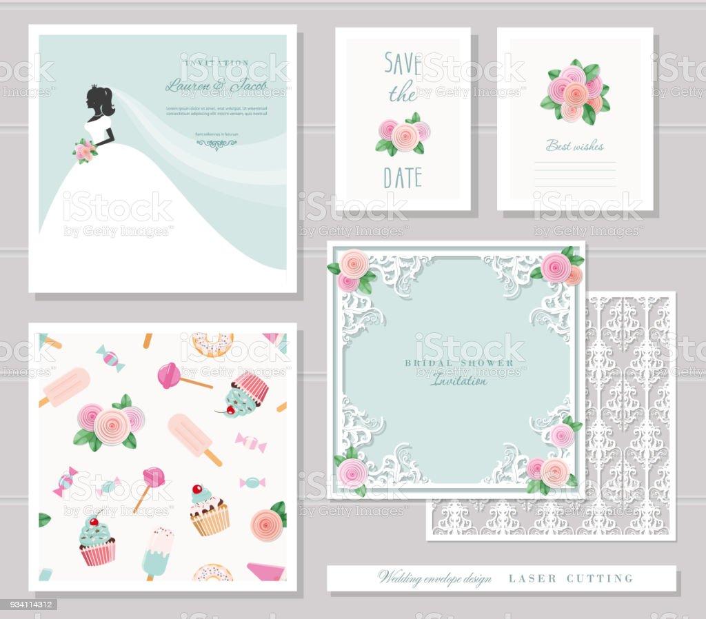 Wedding Templates Set Elegant Cutout Envelope Design Bride - Wedding invitation envelope design templates