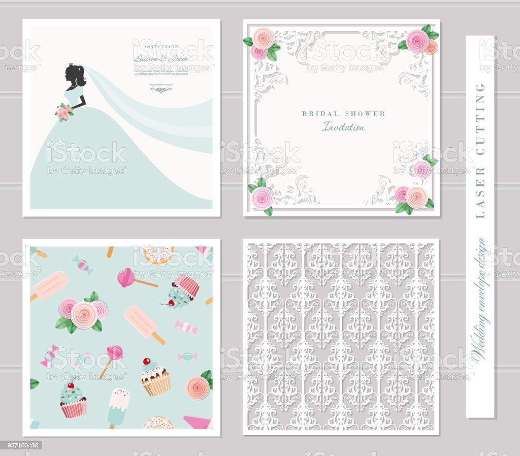 wedding templates set elegant cutout envelope design bride