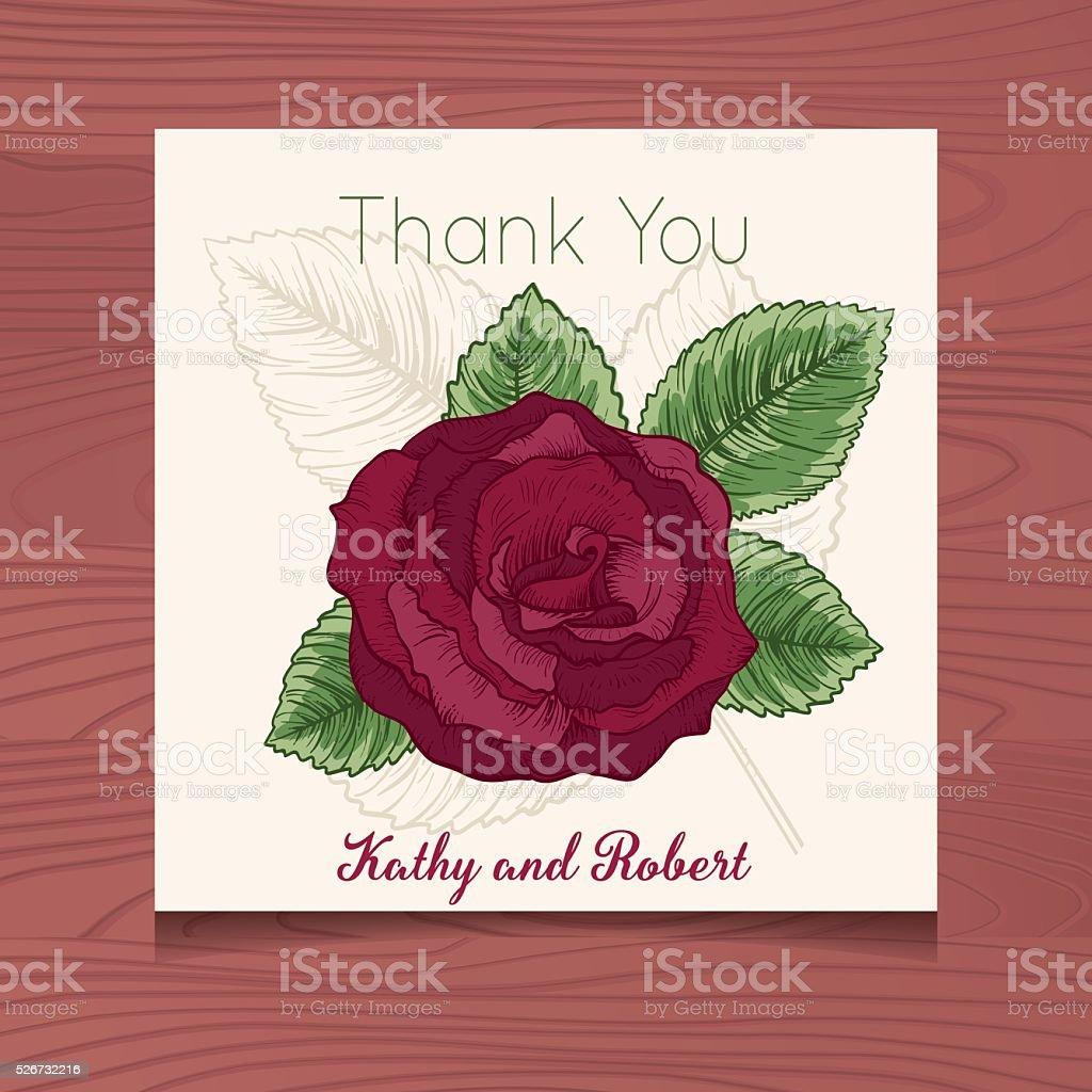 ウェディングありがとうカードテンプレートと植物でバラの木 thank you