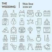 Wedding thin line icon set. Getting married collection, vector sketches, logo illustrations, web symbols, linear pictograms package isolated on white background, eps 10