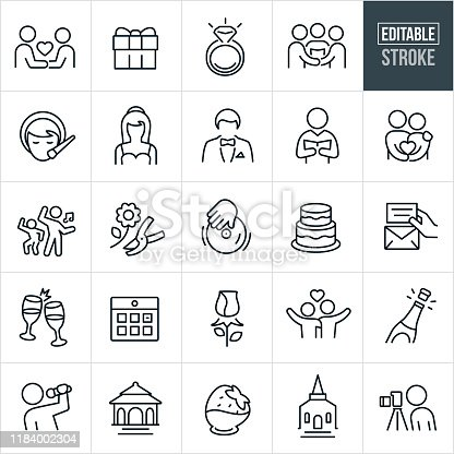 A set of wedding icons that include editable strokes or outlines using the EPS vector file. The icons include couples getting married, couple holding hands, gift, diamond ring, pastor, wedding ceremony, makeup, bride, groom, reading of vows, dancing, flowers, DJ, wedding cake, invitation, champagne, toast, calendar, rose, happy couple, married couple, wedding singer, gazebo, chocolate strawberry, chapel, church and photographer.