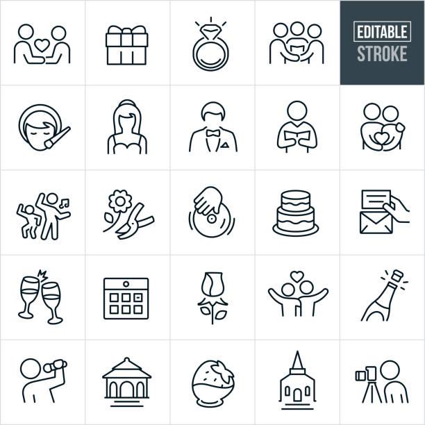 wedding thin line icons - editable stroke - wedding photographer stock illustrations