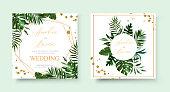 Wedding tropic exotic summer golden geometric triangular frame invitation card save the date with greenery fan palm leaf monstera. Botanical elegant decorative vector template