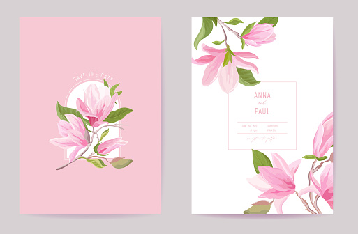 Wedding tropical floral vector card. Magnolia flowers, leaves spring invitation. Watercolor template frame. Botanical Save the Date foliage cover, modern poster, trendy design, luxury background