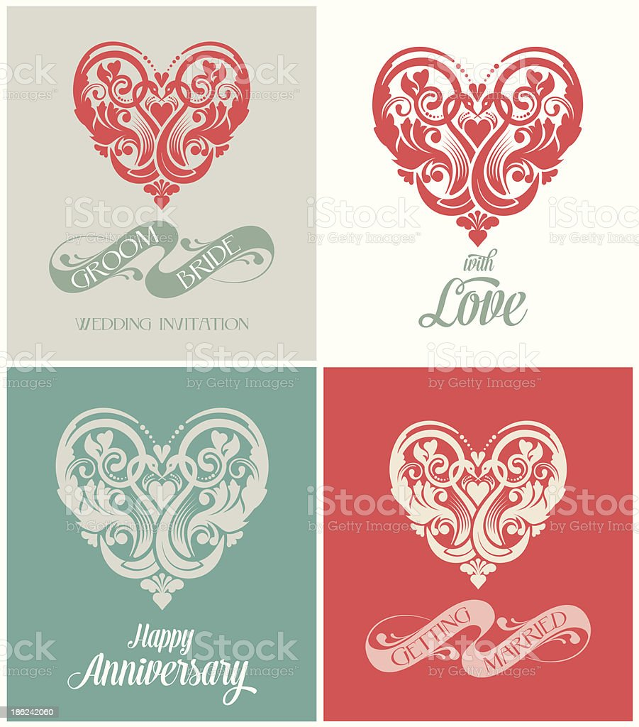 Wedding Valentine Anniversary Invitation Card Stock Vector Art ...