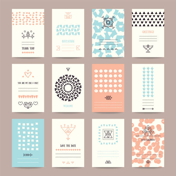 Wedding, Valentine's day, Birthday Party Templates Wedding, Valentine's day, birthday party invitation, greeting cards. Hipster collection of templates with hand drawn textures, brush strokes, trendy thin line icons, geometric signs, tribal symbols. birthday designs stock illustrations