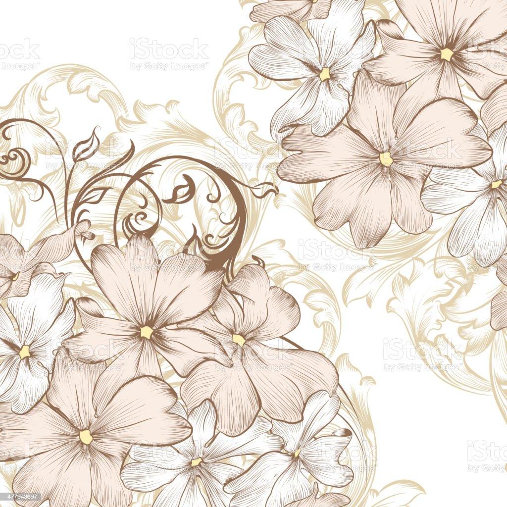 Matrimonio Sfondo Vettoriale Con Mano Disegnata Fiori Stilizzati