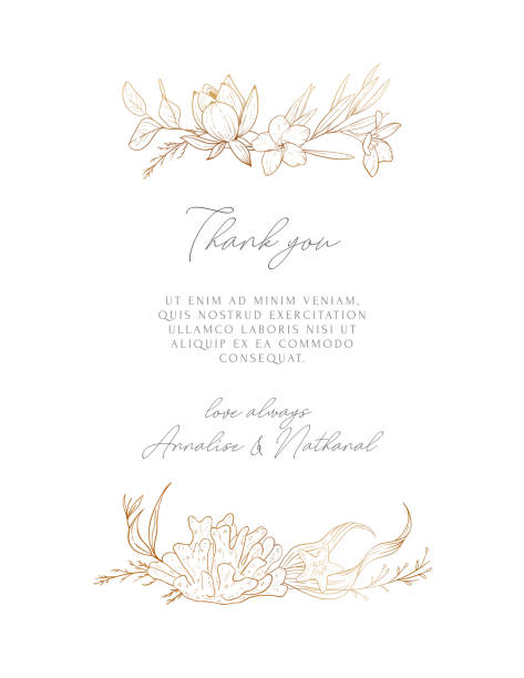 Wedding vector background with sea compositions. Modern design for wedding card, invitation, birthday, cover, flyer, brochure. Sketched floral branches, shell, sea elements, algae, gold background. Wedding vector background with sea compositions. Modern design for wedding card, invitation, birthday, cover, flyer, brochure. Sketched floral branches, shell, sea elements, algae, gold background. wedding invitation stock illustrations