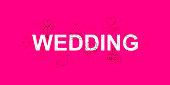 istock Wedding vector banner. Word with line icon. Vector background 962198720