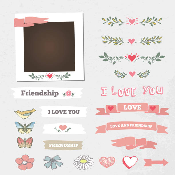 Wedding vector frame Wedding vector frame. This photo template frame you can use for wedding invitation picture or memories. Scrapbook design concept. Insert your picture. scrapbook stock illustrations