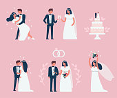 Wedding couple stand, dance and celebrate together.Minimal flat style