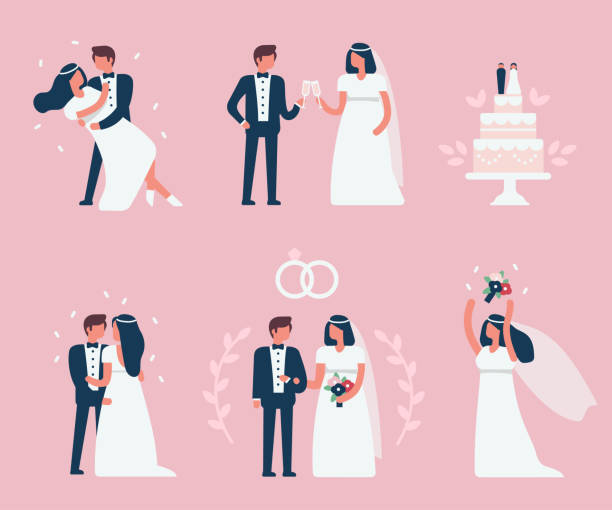 wedding Wedding couple stand, dance and celebrate together.Minimal flat style  bridegroom stock illustrations