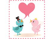 A bird couple dressed for wedding posing for this card with an empty heart shaped writing space.