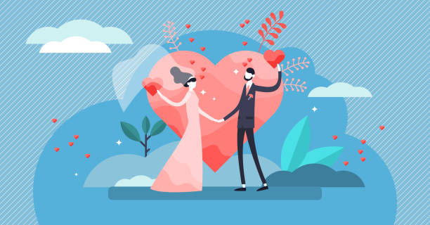Wedding vector illustration. Flat tiny couple marriage day persons concept. vector art illustration