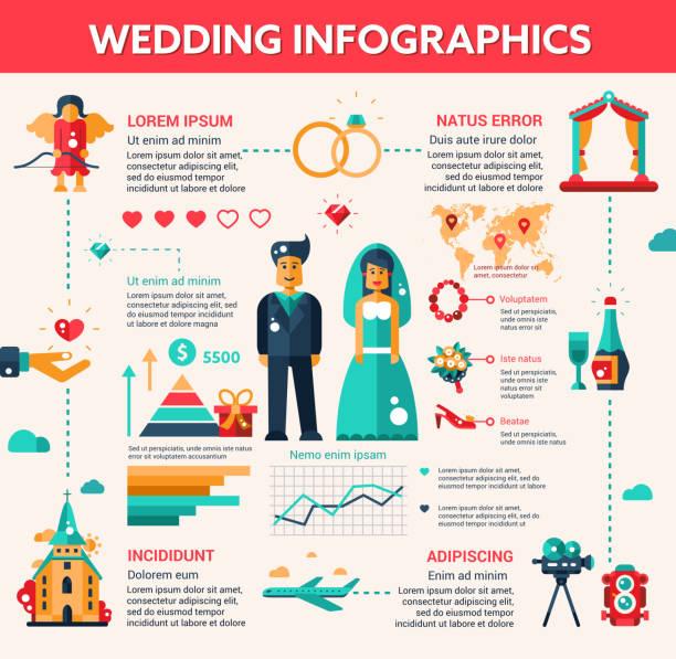 hochzeit vektor illustrative vorlage set mit infografik elemente - rosenhochzeitskleider stock-grafiken, -clipart, -cartoons und -symbole