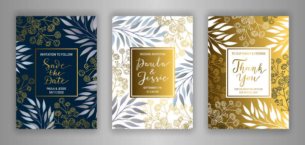 Wedding vector invitation card template set. Wedding invitation card template EPS 10 vector set. Elegant branches, leaves, gypsophila flower background. Thank you, Save the date hand-drawn lettering phrase inscription. Black, white, gold decor wedding invitation stock illustrations