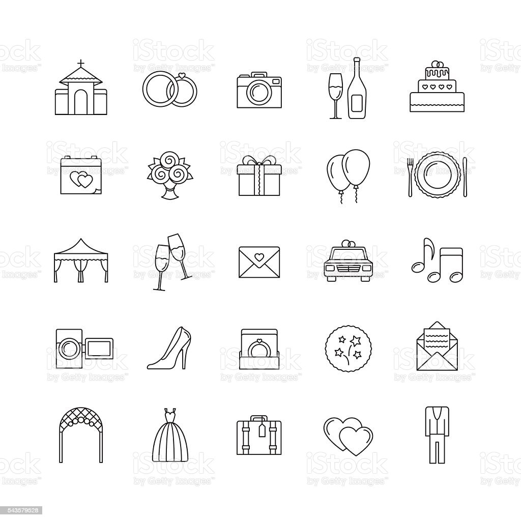 Linha de casamento de vetor ícones definido. Esboço ícones. - ilustração de arte em vetor