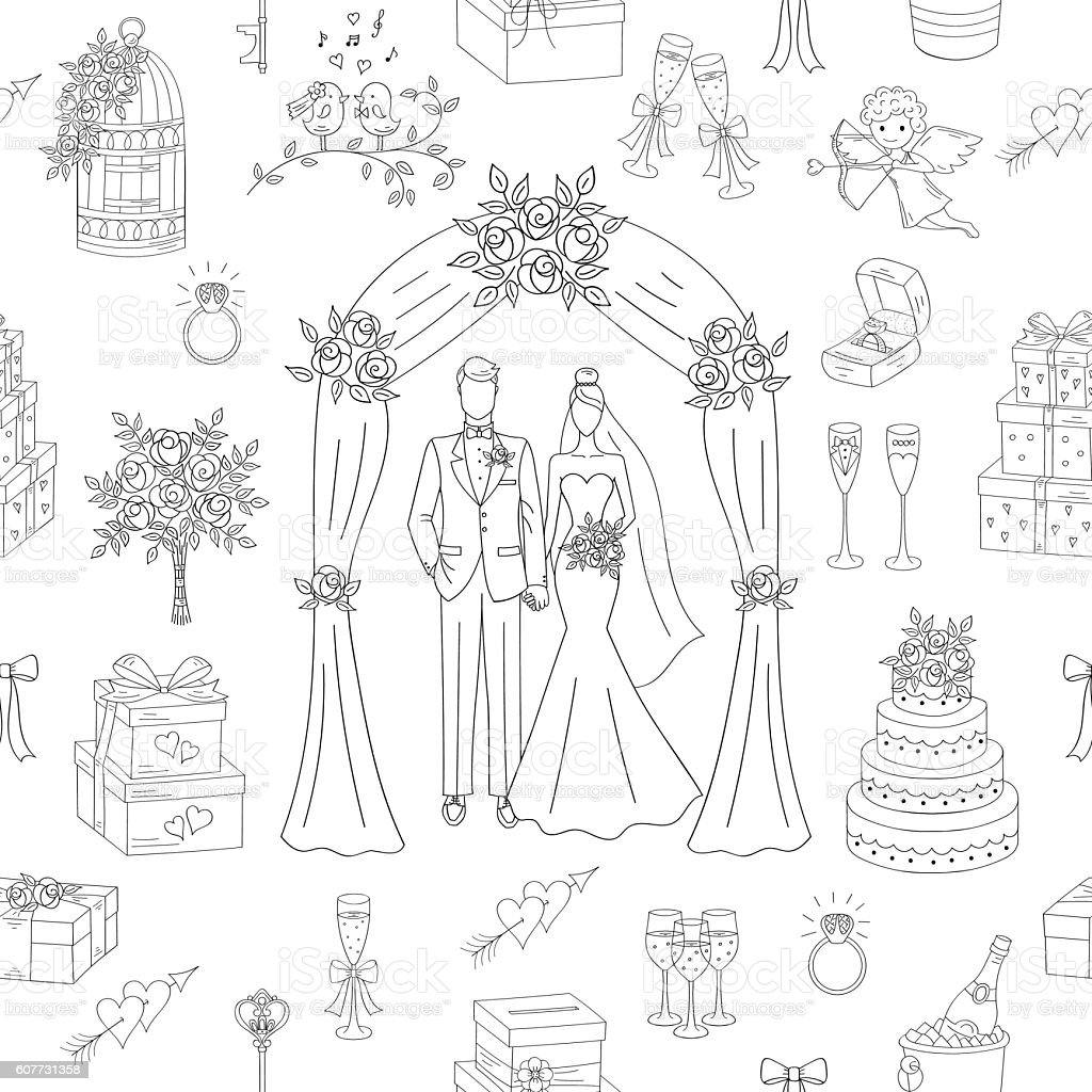 Wedding vector seamless background. vector art illustration