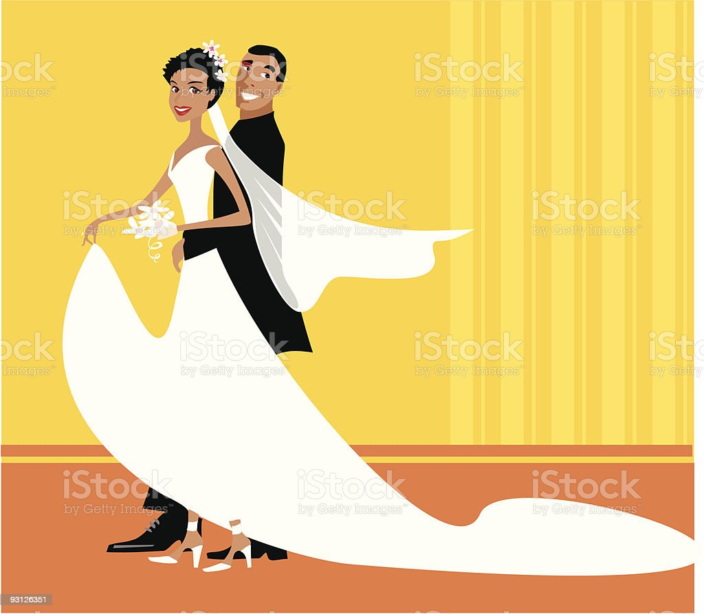 Wedding version 1 - african american couple vector art illustration