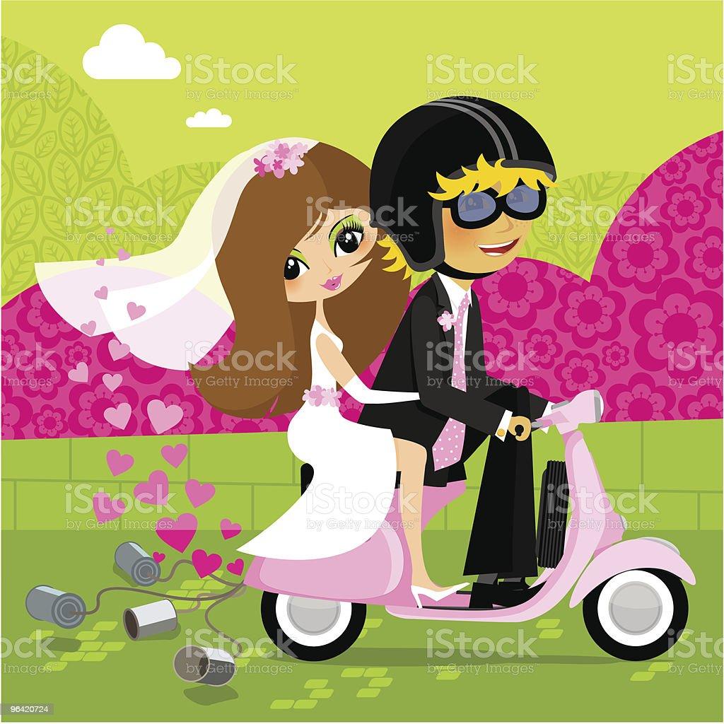 Wedding vespa, vector illustration royalty-free stock vector art