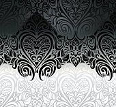 Wedding vintage Black & White floral invitation background design