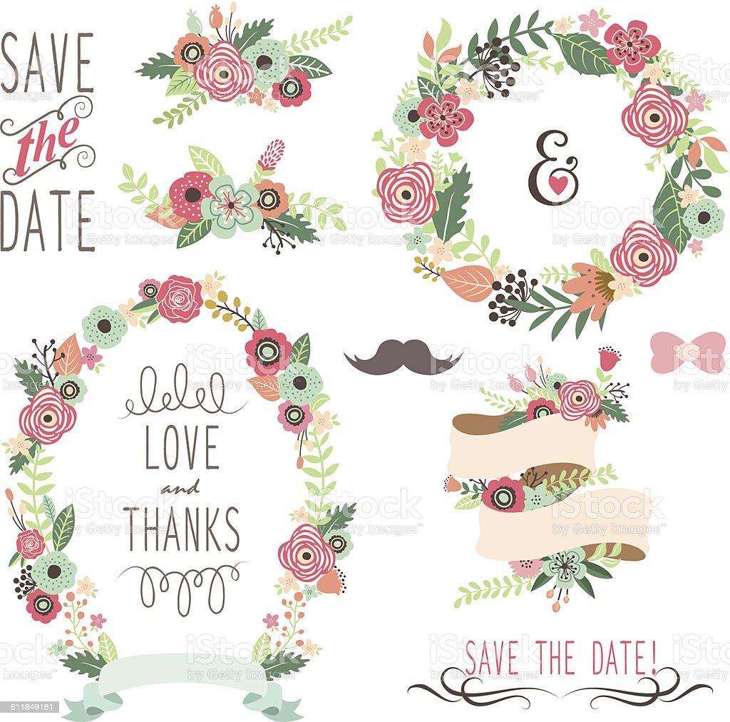 Wedding Vintage Flowers Wreath- illustration vector art illustration