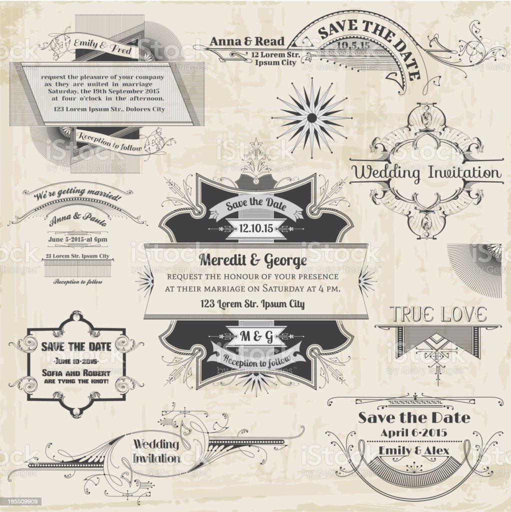 Wedding Vintage Invitation Collection royalty-free wedding vintage invitation collection stock vector art & more images of anniversary