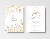 Wedding vintage invitation, save the date card with golden berries and branches sea buckthorn. Elegant gold botanical plant.Gold card template for save the date, invite, greeting card, place for text