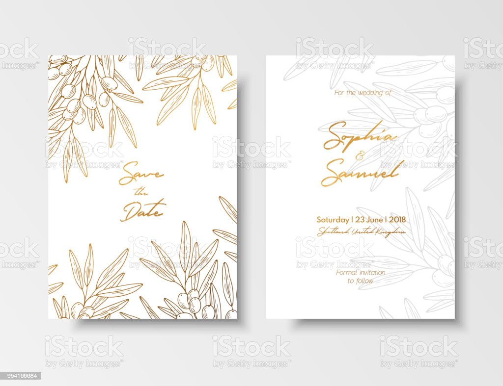 Wedding Vintage Invitation Save The Date Card With Golden