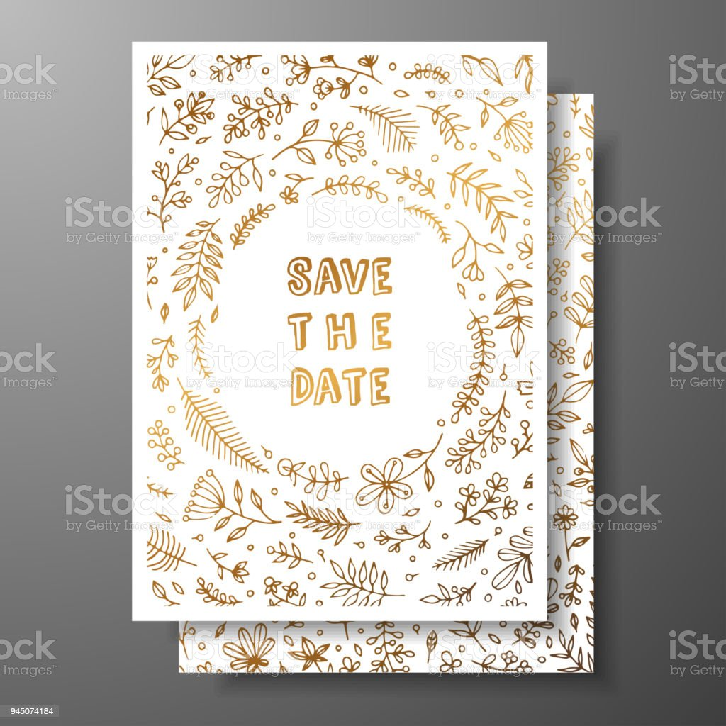 wedding vintage invitationsave the date card with golden twigs and flowers cover design