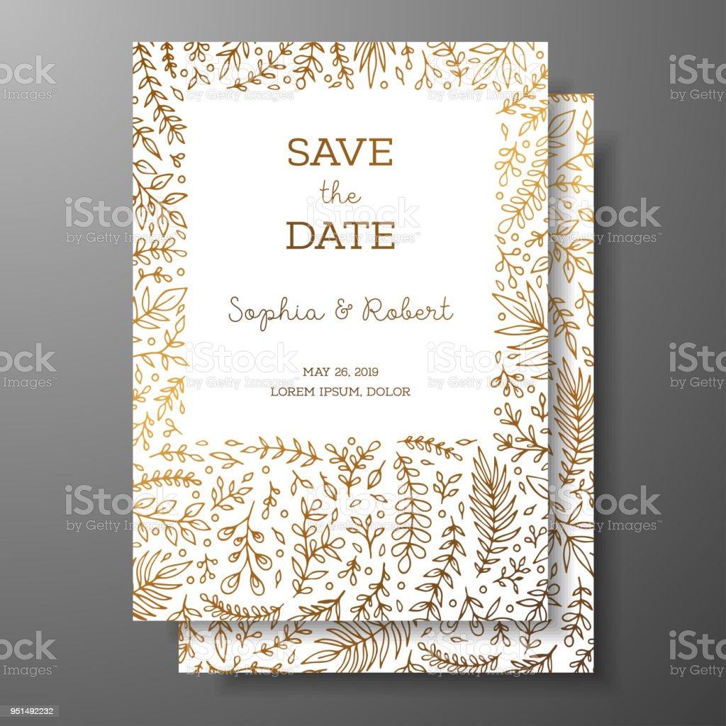 cd7a14ff154e Bröllop vintage inbjudan, spara datum kortet med gyllene kvistar och  blommor. Omslagsdesign med guld
