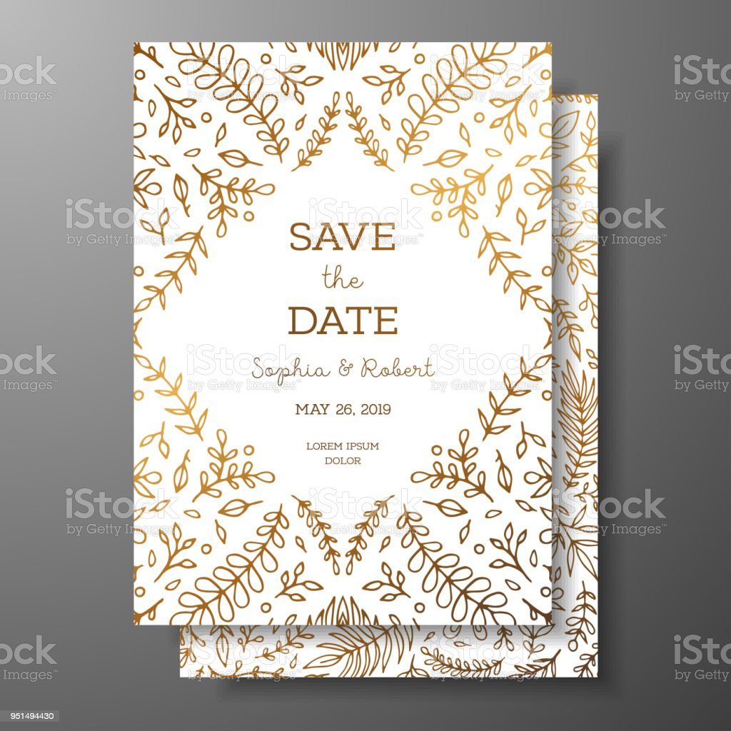 Wedding Vintage Invitationsave The Date Card With Golden Twigs And ...