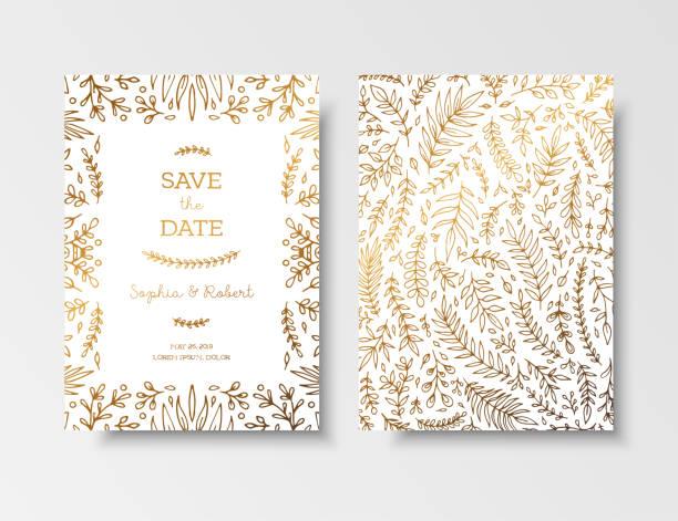 Invitación vintage de la boda, guardar la tarjeta de fecha con flores y ramitas doradas. Cubierta de diseño con oro ornamentos botánicos. Plantillas de tarjetas de oro para guardar la fecha, invitaciones, tarjetas de felicitación, poner texto - ilustración de arte vectorial