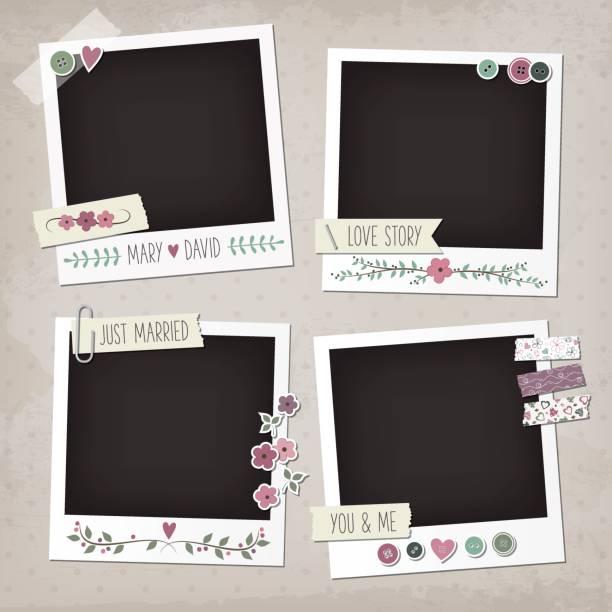 Wedding vintage scrapbook elements. Vintage scrapbook set of photo frames with flowers, laurels, wreaths, stickers, washi tapes, buttons. Wedding scrapbook elements. photo album stock illustrations