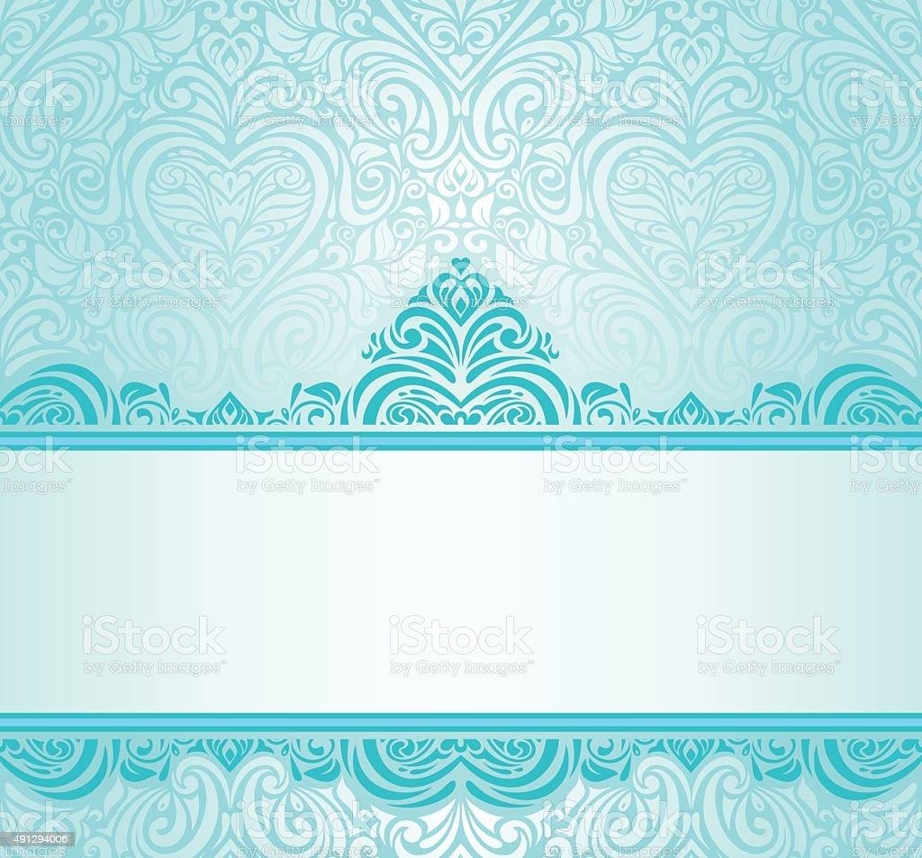 wedding vintage turquoise invitation design stock vector