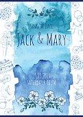 Wedding watercolor vector invitation.